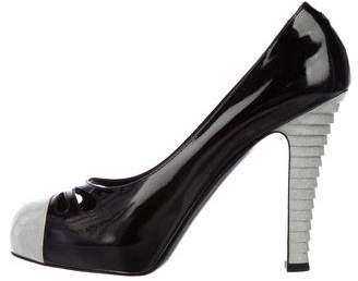 Chanel Patent Leather Round-Toe Pumps