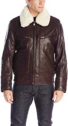 Andrew Marc Mens Outerwear Carmine Distressed Leather Aviator Bomber Jacket
