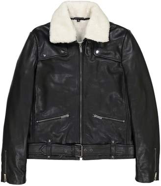 La Redoute Collections Leather Faux Shearling Aviator Jacket