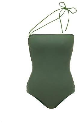 Jacquemus Alassio One Shoulder Swimsuit - Womens - Green