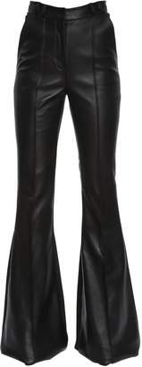 David Koma Flared Leather & Stretch Cady Pants