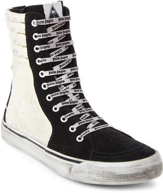 Palm Angels Black & White Distressed High-Top Sneakers