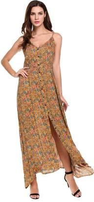 ACEVOG Women's Button Up Split Floral Print Flowy Sleeveless Maxi Dress