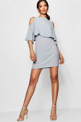 boohoo Cold Shoulder Double Layer Dress