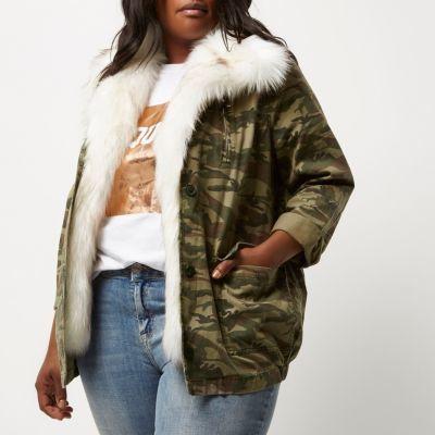 River IslandRiver Island Womens Plus green camo faux fur trim jacket
