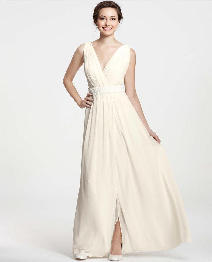 Ann Taylor Goddess V-Neck Wedding Dress