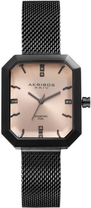 Akribos XXIV Women's Empire Diamond Mesh Watch