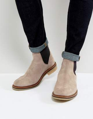 Asos Chelsea Boots in Gray Suede With Natural Sole