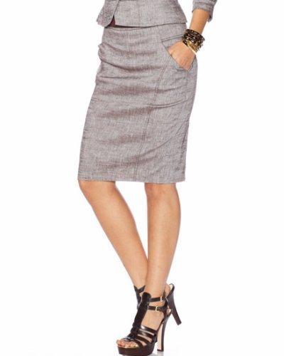 High Waist Etched Linen Pencil Skirt