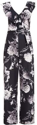 Quiz Black White And Grey Floral Palazzo Jumpsuit