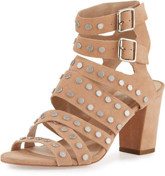 Loeffler Randall Galia Studded Strappy Sandals, Nude/Silver
