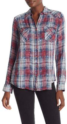 Love Stitch Button Down Plaid Shirt