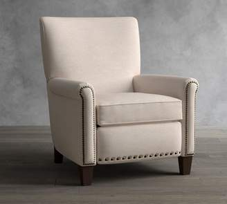 Pottery Barn Irving Roll Arm Upholstered Recliner Nailhead
