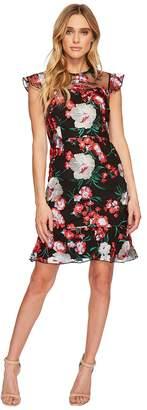 Donna Morgan Short Flutter Sleep Drop Waist Embroidered Dress Women's Dress