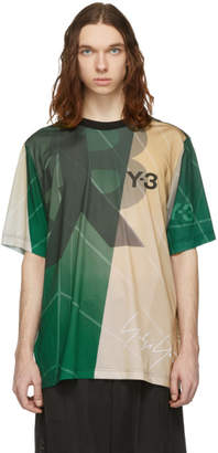 Y-3 Beige and Green AOP Football T-Shirt