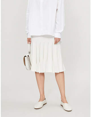 Theory Pleated stretch-knit midi skirt
