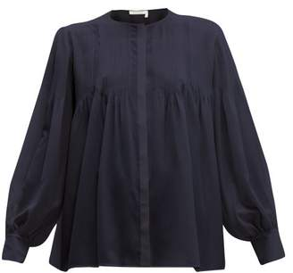 Chloé Pintuck Silk Crepe De Chine Blouse - Womens - Navy