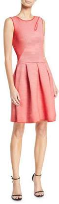 Emporio Armani Rosa Volcano Sleeveless Fit-and-Flare Striped Ottoman Dress