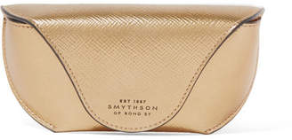 Smythson Metallic Textured-leather Sunglasses Case - Gold