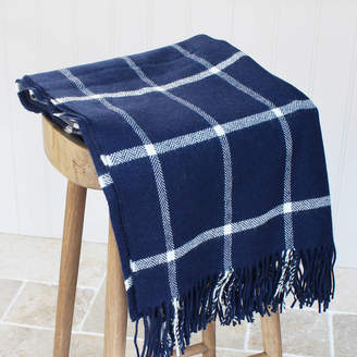Marquis & Dawe Navy And White Check Lambswool Throw