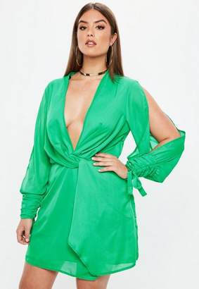 Missguided Plus Size Green Twist Front Tie Cuff Dress