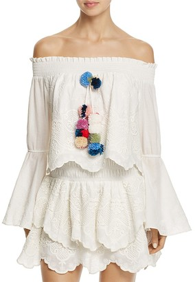 Red Carter Cheyenne Off-the-Shoulder Pom-Pom Top $170 thestylecure.com