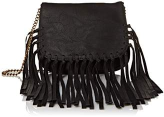 Twig & Arrow Knotted Fringe Crossbody with Flap Messenger Bag