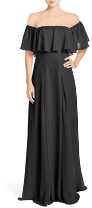 Women's Monique Lhuillier Bridesmaids Off The Shoulder Chiffon Gown $290 thestylecure.com