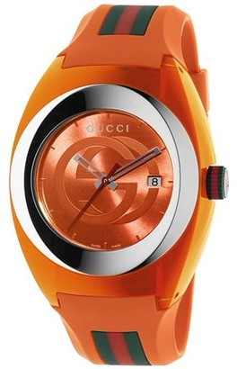 Gucci Unisex Red Swiss Sync Striped Rubber Strap Watch