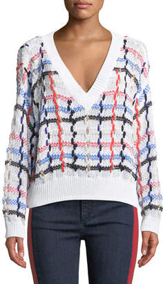 Rag & Bone Lloyd V-Neck Multicolor Chunky Knit Sweater