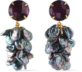 Bounkit Gold-tone, Amethyst And Pearl Earrings