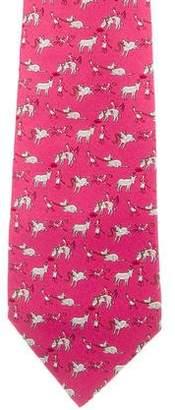 Hermes Silk Donkey Print Tie