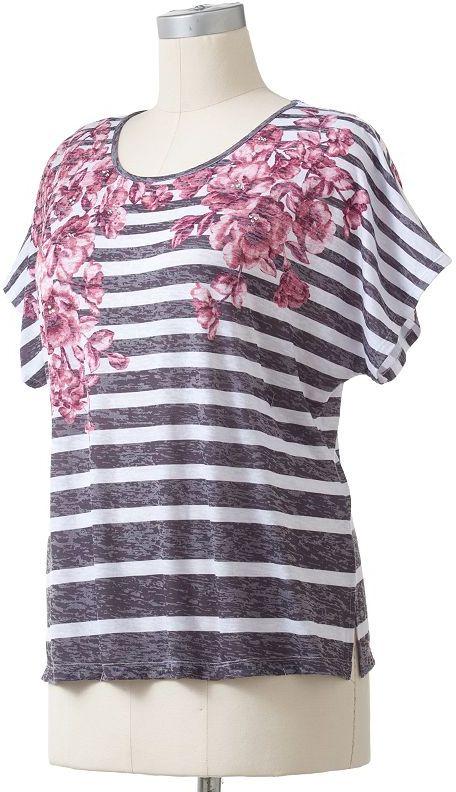 Cathy daniels striped embellished burnout top - women's plus