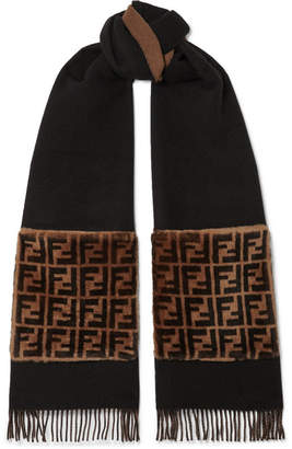 Fendi Shearling-trimmed Wool And Cashmere-blend Scarf - Black