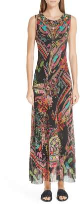 Fuzzi Print Tulle Maxi Dress