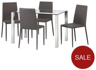 Camilla And Marc Julian Bowen Enzo 120 Cm Glass And Chrome Dining Table + 4 Linen Chairs - Slate