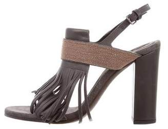 Brunello Cucinelli Monili-Trimmed Leather Sandals