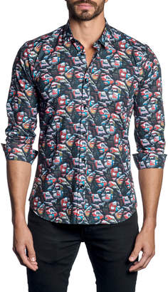 Jared Lang Men's Comic Pop Art-Print Long-Sleeve Button-Down Shirt