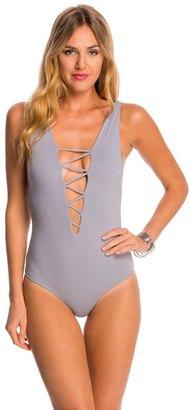 Indah Let's Get Lost Rainey Nilo Lace Up One Piece Swimsuit 8145706 $154 thestylecure.com