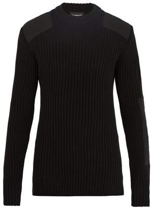 Calvin Klein 205w39nyc - Patch Detail Ribbed Knit Cotton Blend Sweater - Mens - Black