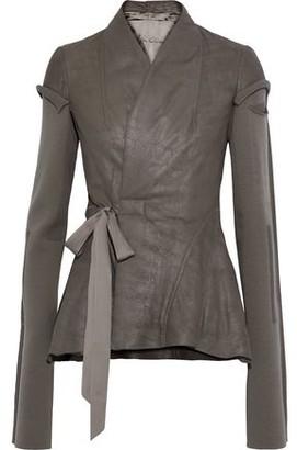 Rick Owens Princess Wool-paneled Coated-leather Wrap Jacket