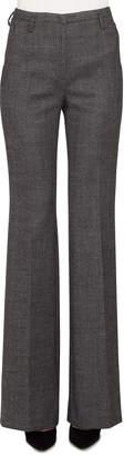 Akris Farrah Stretch-Wool Tweed Boot-Cut Pants