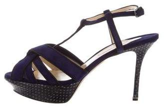 Nicholas Kirkwood Snakeskin-Trimmed Platform Sandals w/ Tags