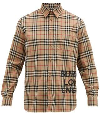 Burberry Logo Print House Check Cotton Shirt - Mens - Camel