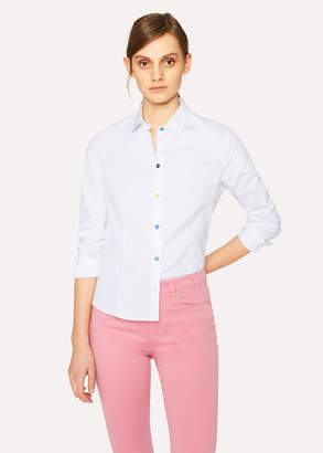 Paul Smith Women's White Slim-Fit Stretch-Cotton Shirt With Multi-Colour Buttons
