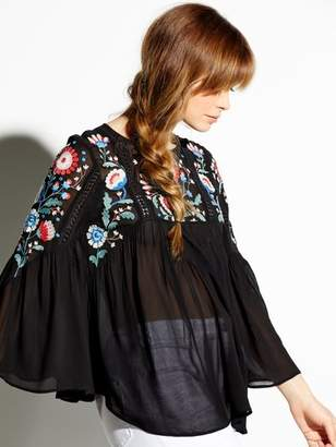 684e6afeb1 at M Co · M Co Floral embroidered sheer tunic top