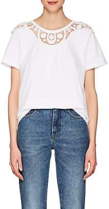 Chloé Women's Lace-Embellished Cotton T-Shirt