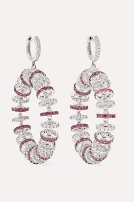 Ofira - 18-karat White Gold, Ruby And Diamond Earrings