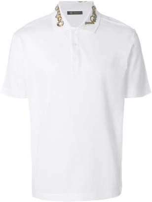 Versace embellished collar polo shirt