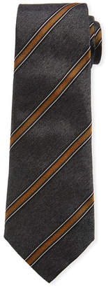 Brunello Cucinelli Diagonal Wide Stripe Silk Tie